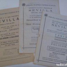 Documentos antiguos: LOTE DE 3 SUPLEMENTOS GUIA TELEFONICA DE SEVILLA, AÑOS 1977 , 1979 Y 1984. C.T. N. E. .. Lote 134967726