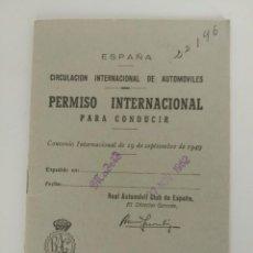 Documentos antiguos: PERMISO INTERNACIONAL DE CONDUCIR, ESPAÑA 1962. Lote 135013646