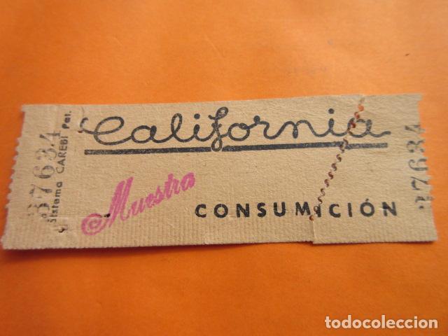 VALE CONSUMICION CAFETERIA CALIFORNIA MADRID (Coleccionismo - Documentos - Otros documentos)