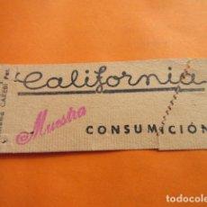 Documentos antiguos: VALE CONSUMICION CAFETERIA CALIFORNIA MADRID . Lote 135109178