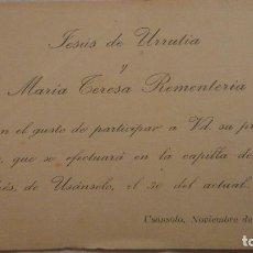 Documentos antiguos: RECUERDO ENLACE MATRIMONIAL.JESUS DE URRUTIA Y MARIA TERESA REMENTERIA.USÁNSOLO.VIZCAYA 1918. Lote 135161726