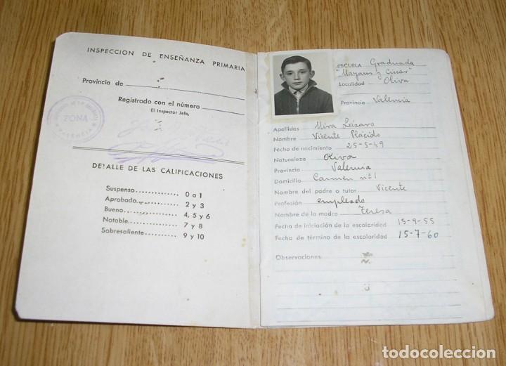 Documentos antiguos: Cartilla de escolaridad - Mayans y Ciscar - Oliva - Valencia 1955. - Foto 2 - 135173454