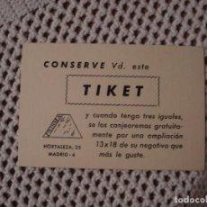 Documentos antiguos: TIKET AÑOS 70 PARA REVELADO. Lote 135281494