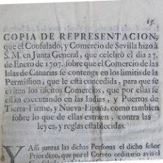 Documentos antiguos: DOCUMENTO COPIA DE REPRESENTACIÓN 1707. COMERCIO ISLAS CANARIAS Y LAS INDIAS. Lote 135333994
