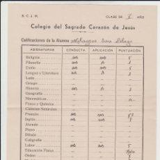 Documentos antiguos: NOTAS COLEGIO DEL SAGRADO CORAZÓN DE JESÚS 1951 // ALGORTA – BIZKAIA . Lote 135357014