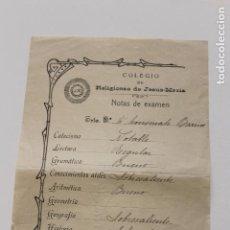 Documentos antiguos: HOJA NOTAS EXAMEN, COLEGIO DE RELIGIOSAS DE JESUS MARIA ORIHUELA 1917. Lote 135432834