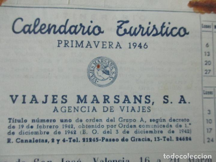 CALENDARIO TURÍSTICO - VIAJES MARSANS - PRIMAVERA 1946 (Coleccionismo - Documentos - Otros documentos)