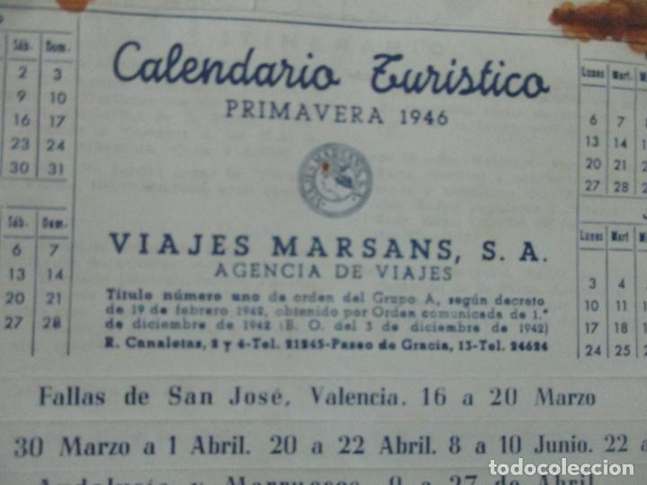 Documentos antiguos: Calendario Turístico - Viajes Marsans - Primavera 1946 - Foto 3 - 135487358