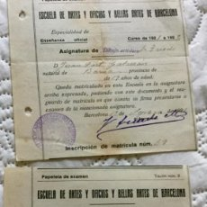 Documentos antiguos: MATRÍCULA DEL PINTOR JOAN FORT GALCERÁN ESCUELA DE ARTES Y OFICIOS Y BELLAS ARTES DE BARCELONA192. Lote 135515074