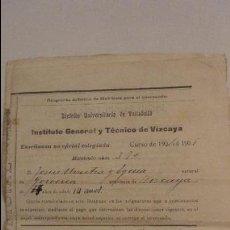 Documentos antiguos: INSTITUTO TECNICO VIZCAYA.BOLETIN CALIFICACIONES.JESUS URRUTIA Y EGUIA.BILBAO 1904. Lote 135537118