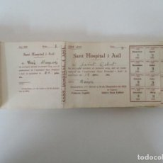 Documentos antiguos: ANTIGUO TALONARIO CON 139 CUPONES - SANT HOSPITAL I ASIL, GRANOLLERS - ANY 1935. Lote 135630363