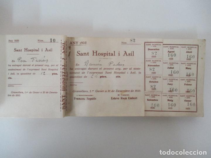 Documentos antiguos: Antiguo Talonario con 139 Cupones - Sant Hospital i Asil, Granollers - Any 1935 - Foto 3 - 135630363