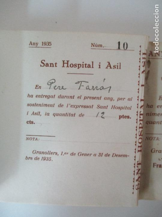 Documentos antiguos: Antiguo Talonario con 139 Cupones - Sant Hospital i Asil, Granollers - Any 1935 - Foto 4 - 135630363
