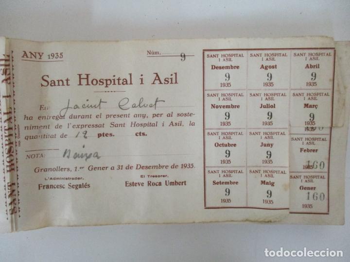 Documentos antiguos: Antiguo Talonario con 139 Cupones - Sant Hospital i Asil, Granollers - Any 1935 - Foto 5 - 135630363