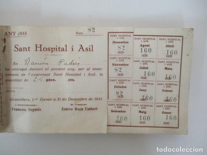 Documentos antiguos: Antiguo Talonario con 139 Cupones - Sant Hospital i Asil, Granollers - Any 1935 - Foto 6 - 135630363
