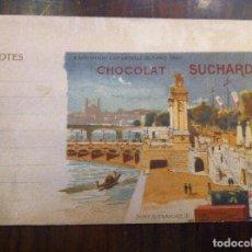 Documentos antiguos: CHOCOLATE SUCHARD. EXPOSICIÓN UNIVERSAL PARÍS 1900. PORT ALEXANDRE III. HOJA DE NOTAS ORIGINAL. . Lote 135640099