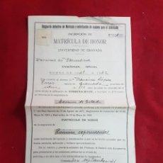 Documentos antiguos: MATRÍCULA DE HONOR - UNIVERSIDAD DE GRANADA - FACULTAD DE FARMACIA 1941. Lote 135788586