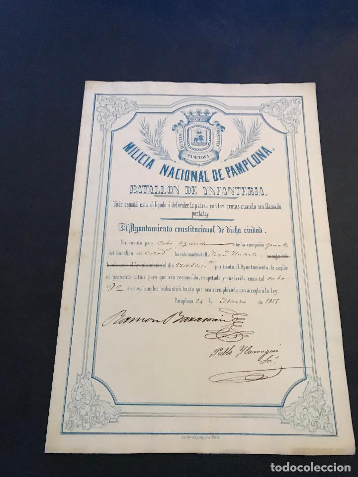 MILICIA NACIONAL DE PAMPLONA. NOMBRAMIENTO. AÑO 1855. (Coleccionismo - Documentos - Otros documentos)