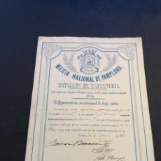 Documentos antiguos: MILICIA NACIONAL DE PAMPLONA. NOMBRAMIENTO. AÑO 1855.. Lote 135936446