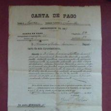 Documentos antiguos: JUMILLA.1907.CARTA DE PAGO APROVECHAMIENTO DE ESPARTOS SOBRANTES EN VARIAS SIERRAS RELACIONADAS.. Lote 136152230
