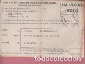 DOCUMENTO JUNTA ELECTORAL DE ZONA DE BARCELONA VOTÓ - HA VOTAT 1983 (Coleccionismo - Documentos - Otros documentos)