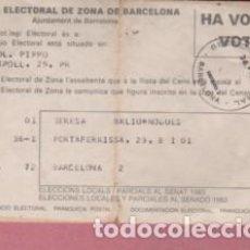 Documentos antiguos: DOCUMENTO JUNTA ELECTORAL DE ZONA DE BARCELONA VOTÓ - HA VOTAT 1983. Lote 136506394