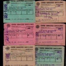 Documentos antiguos: E-50 CENTRO GIMNASTICO BARCELONES. CONJUNTO DE 8 RECIBOS DE SOCIO DE LOS AÑOS 50S - 60S. Lote 136637014