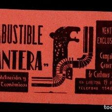 Documentos antiguos: 0007 ANTIGUA TARJETA DE VISITA DE COMBUSTIBLE =PANTERA= PARA CALEFACCION Y COCINAS ECONOMICAS - DE. Lote 137108754
