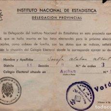 Documentos antiguos: L32-7 JUSTIFICANTE DE VOTO DEL DISTRITO 11º – SECCION ELECTORAL Nº 8 DEL INSTITUTO NACIONAL DE ES. Lote 137109942