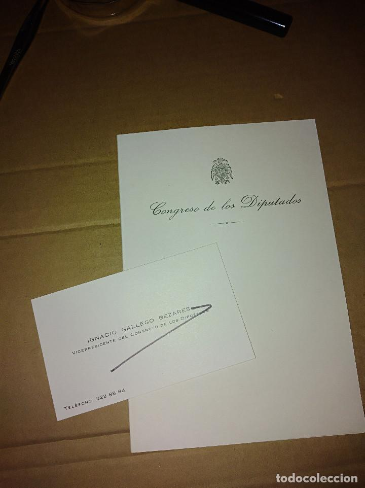 TARJETA VISITA DIPTICO CONGRESO DIPUTADOS IGNACIO GALLEGO BEZADES CORDOBA MADRID SILES JAEN (Coleccionismo - Documentos - Otros documentos)