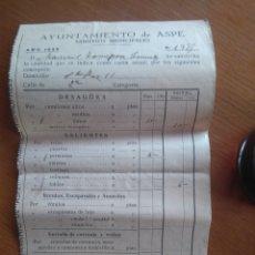 Documentos antiguos: AYUNTAMIENTO DE ASPE ARBITRIOS MUNICIPALES 1955. Lote 137206060