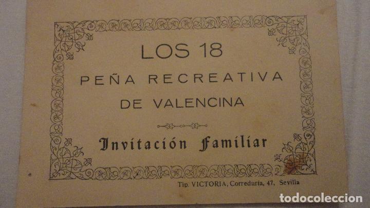 Antigua Tarjeta Invitacion Familiar Los 18 Peña Recreativa De Valencina De La Concepcion Sevilla