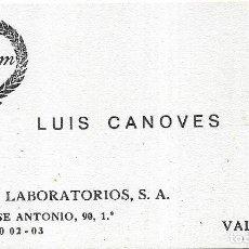 Documentos antiguos: == TS339 - TARJETA DE VISITA - CHARM LABORATORIOS - LUIS CANOVES - VALENCIA. Lote 137279486