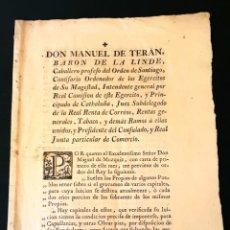 Documentos antiguos: BARON DE LA LINDE - DON MANUEL DE TERÁN - BARCELONA 10 DE SEPTIEMBRE DE 1780. Lote 137314874