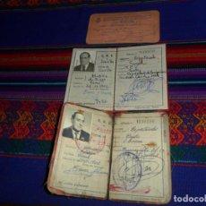 Documentos antiguos: 2 CARNET CNS FALANGE SINDICATO VERTICAL ESPECTÁCULOS MADRID 1947 SEVILLA 1964. REGALO OTRO DE 1930.. Lote 137404978