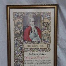 Documentos antiguos: BELLO CUADRO DOCUMENTO DE INDULGENCIA PLENARIA Y BENDICIÓN APOSTÓLICA DEL PAPA PIO XII DEL AÑO 1950. Lote 137574030