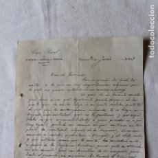 Documentos antiguos: 2 CARTAS MANUSCRITAS CAJA RURAL DEL SINDICATO AGRICOLA-OBRERO, BURRIANA 1919. Lote 137583626