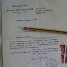 Documentos antiguos: TRIBUNAL DE LA ROTA NUNCIATURA APOSTOLICA EN MADRID: CARTA COMUNICANDO ANULACION MATRIMONIO. 1981.. Lote 137776486