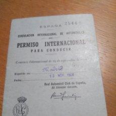 Documentos antiguos: PERMISO INTERNACIONAL PARA CONDUCIR, MADRID 1964. Lote 137852318