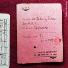 Documentos antiguos: CARNET DE LA GUERRA CIVIL. UGT VALENCIA. VESTIDO Y TOCADO 1937. CONTIENE 44 CUPONES. Lote 138003718