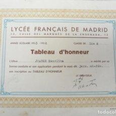 Documentos antiguos: LYCÉE FRANÇAIS DE MADRID. DISTINCIÓN ALUMNA TABLEAU D'HONNEUR. LOTE DE 3. AÑOS 1933-1935. Lote 138039382