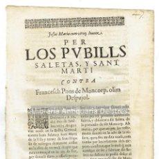 Documentos antiguos: [SAN HIPOLIT DE VOLTREGÀ, BARCELONA. 1629] PER LOS PUBILLS SALETAS, Y SANT MARTI CONTRA FRANCESCH.... Lote 138052490