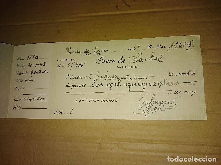 Documentos antiguos: talonario carnet de cheques banco central de barcelona bilbao vizcaya 1948 ver imagenes - Foto 3 - 138244030
