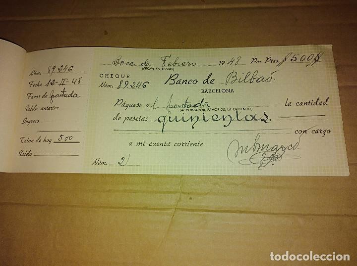 Documentos antiguos: talonario carnet de cheques banco central de barcelona bilbao vizcaya 1948 ver imagenes - Foto 4 - 138244030