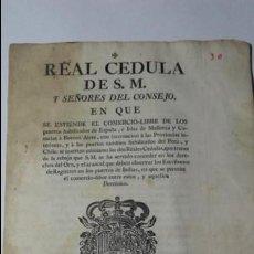 Documentos antiguos: IMPORTANTE CEDULA REAL COMERCIO LIBRE NAVEGACION ENTRE ESPAÑA E HISPANOAMERICA. MADRID. 1778.. Lote 138609826