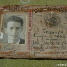 Documentos antiguos: RARÍSIMO PERMISO LICENCIA DE MOTOCICLISTA 1935 CARNET CONDUCIR MOTOCICLETA MÉXICO DISTRITO FEDERAL. Lote 138907522