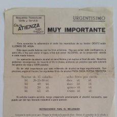 Documentos antiguos: CURIOSO AVISO. MUY IMPORTANTE. LOS NEUMATICOS TRACTOR DEUTZ ESTAN LLENOS DE AGUA. INSTRUCCIONES. Lote 139311210