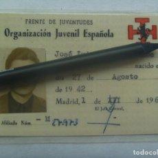 Documentos antiguos: FRENTE DE JUVENTUDES - OJE ( ORGANIZACION JUVENIL ESPAÑOLA ) : CARNET DE MIEMBRO. MADRID 1961. Lote 195232931