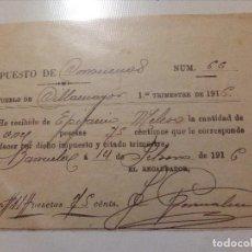 Documentos antiguos: FACTURA IMPUESTO,AÑO 1916.CILLAMAYOR-BARRUELO-PALENCIA.. Lote 139650938