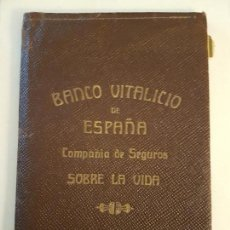Documentos antiguos: FUNDA PÓLIZA DE SEGUROS BANCO VITALICIO DE ESPAÑA, ENTORNO A 1920. Lote 139964726